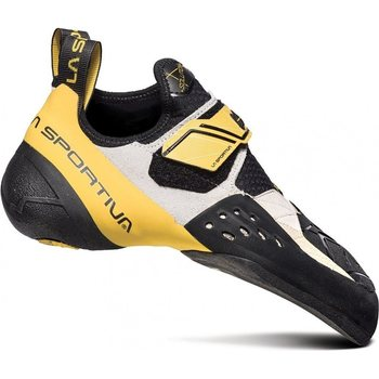 Velcro strapped climbing shoes